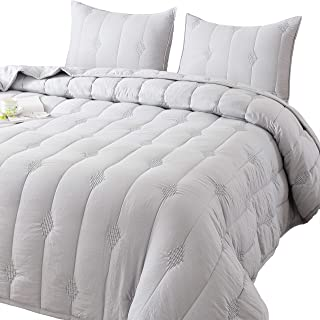 ANNA.Z HOME Ethan Comforter, Quilt, Stone Washed Microfiber 3-Piece Set Quilt, Allover Stitching and Embroidery, King, Queen and Twin Set in Solid Colors, Good for All Seasons. (Light Grey, Twin Set)