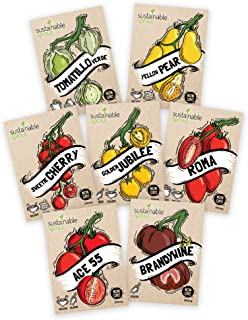 Tomato Seeds Variety Pack - 100% Non GMO - Cherry, Brandywine Beefsteak, Yellow Pear, Golden Jubilee, Plum Roma, Tomatillo Verde, Ace 55. Heirloom Tomatoes Seeds for Planting in Your Organic Garden
