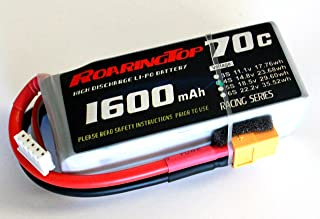 RoaringTop LiPo Battery Pack 70C 1600mAh 4S 14.8V with XT60 Plug for RC Car Boat Truck Heli Airplane