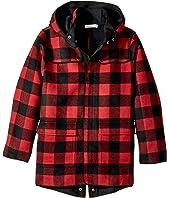 Stella McCartney Kids - Beet Checkered Wool Coat w/ Detachable Hood (Toddler/Little Kids/Big Kids)