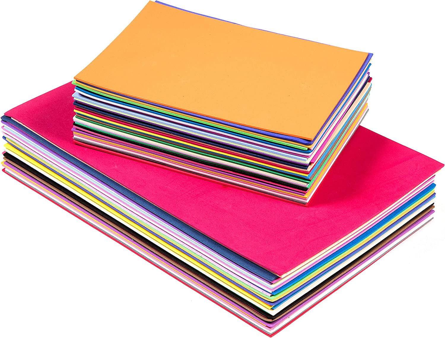 Edukit EVA Foam Sheets; A4 and A5 Sizes; 2mm Thick; 60 per Pack; Assorted Colours - for DIY Craft Activities and Supplies