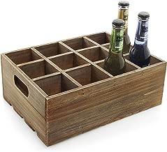 Vintage Finish Rustic Brown Wood 12 Slot Beer Bottle Serving Crate/Beer Storage Box w/Carrying Handles
