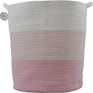 """Cotton Rope Basket for Storage and Organization in Baby Nursery or Kids Room   Extra Large 18"""" x 16"""" Decorative Laundry Hamper, Organizer for Blankets, Towels, Toys, Books   Pink/White"""