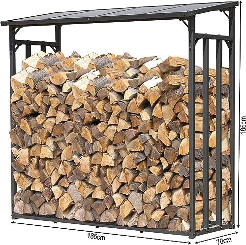 QUICK STAR Étagère en métal pour Bois de cheminée Anthracite 185 x 70 x 185 cm Distance Entre Les Bois 2,3 m3