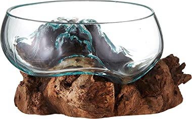 """Cohasset Gifts Cohasset Wide Mouth Molten, Approximately 8"""", Natural Wood and Recycled Glass"""