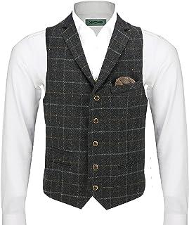 Mens Wool Mix Herringbone Tweed Check Vintage Collar Waistcoat Brown Green Black Tailored Fit Vest [Chest UK 42 EU 52,Char...