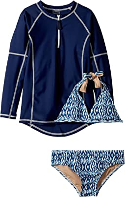 Toobydoo Tropical Blue Bikini & Rashguard Set (Infant/Toddler/Little Kids/Big Kids)