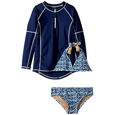 Toobydoo Tropical Blue Bikini Rashguard Set (Infant/Toddler/Little Kids/Big Kids) (Multi Blue) Girl