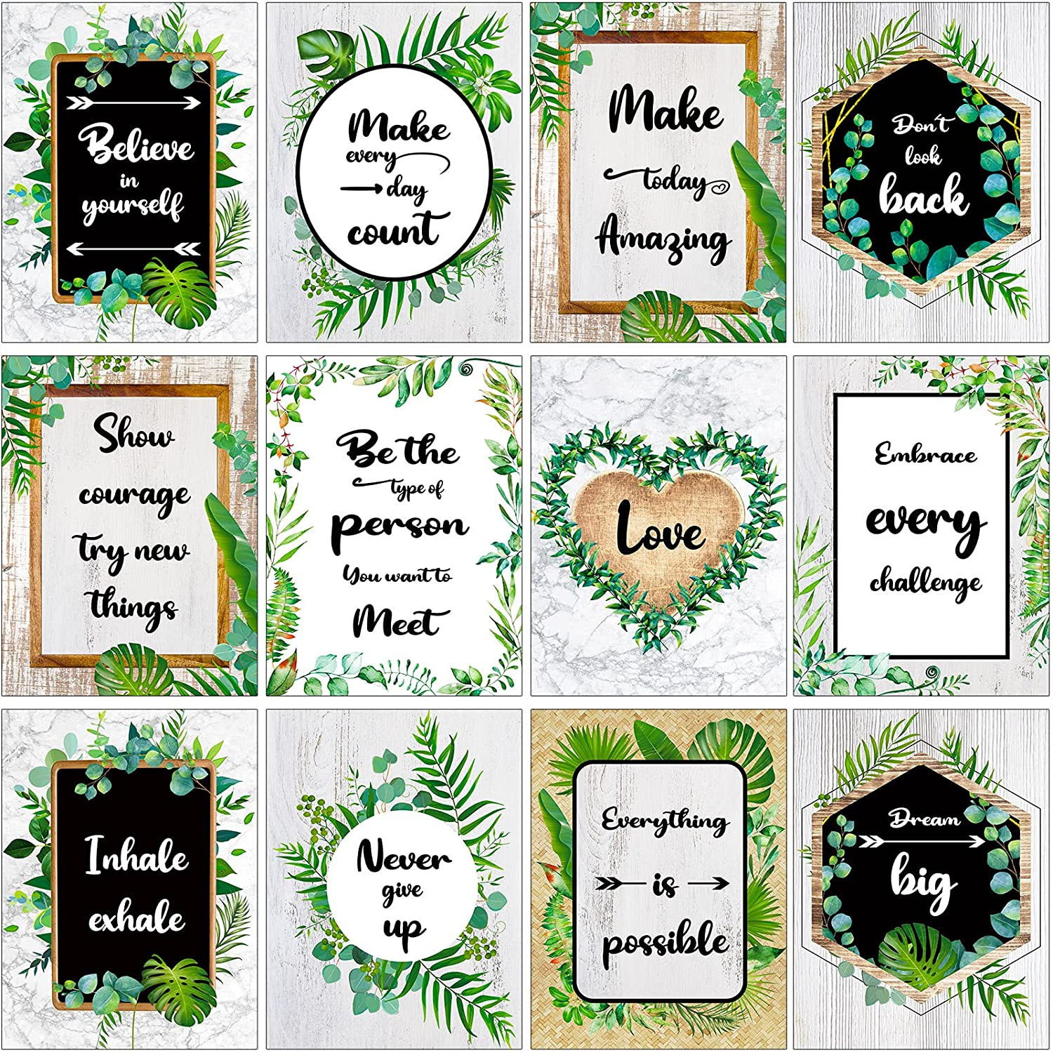 12 Pieces Inspirational Wall Posters Motivational Posters Inspirational Bulletin Board Decorations Simply Boho Poster Positive Quote Wall Poster Art Prints for Office (Classic Style, 11 x 14 Inch)