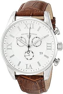 Swiss Legend Men's Bellezza Stainless Steel Swiss-Quartz Watch with Leather Calfskin Strap, Brown, 21 (Model: 22011-02-BRN)