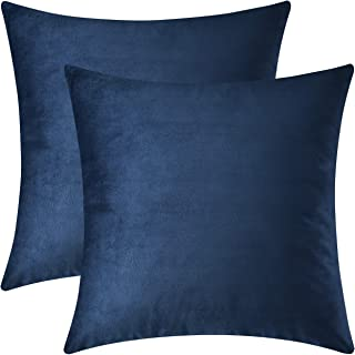 Mixhug Set of 2 Cozy Velvet Square Decorative Throw Pillow Covers for Couch and Bed, Navy Blue, 18 x 18 Inches