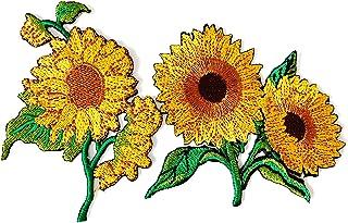 Tyga_Thai Set 2 pcs. Sunflower Garden Plant Sunflower Flower Granny Chic Retro Boho Embroidered Applique Sew Iron on Patch...