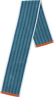 丸眞 マフラータオル ストライプ ブルー 110×14cm 綿100% ジャカードタオル 0366032800