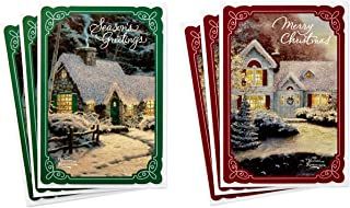 Hallmark Thomas Kinkade Card Assortment, Snowy Cottages (6 Cards with Envelopes, 2 Designs)