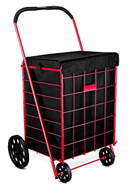 """Shopping Cart Liner - 18"""" X 15"""" X 24"""" - Square Bottom Fits Snugly Into a Standard Shopping Cart. Cover and Adjustable Straps for Easy and Secure Attachment. Made from Waterproof Material, Black"""
