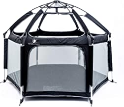 Pop 'N Go - The World's Best Kids Playpen - Lightweight & Portable - For Inside or Outdoor Use - Safety Locks Keep Playpen Firmly Planted and Secure -Free UV Shade with Every Order!(Black and Gray)