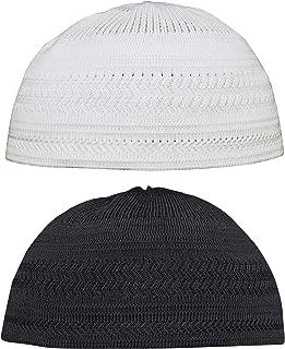 Set of Medium Black & White Cotton Stretch-knit Kufi Hat Skull Cap - Comfortable Fit