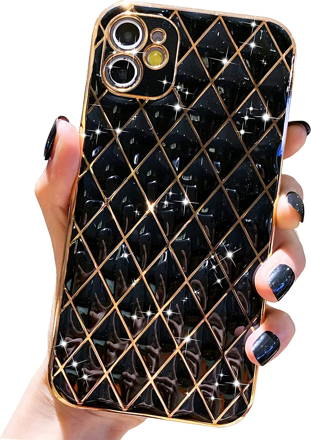 Anynve Compatible with iPhone 12 Case, Glitter Sparkle Luxurly Plating Case, Full Camera Lens Protection Shockproof Edge Bumper Slim TPU Silicone iPhone 12 Phone Case [6.1 inches] -Black