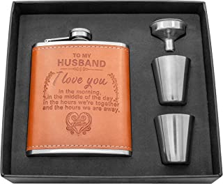Personalized Flask Set - Engraved Custom Hip Flasks For Husband - Stainless Steel with Leather Flask For Men, Wedding Valentine's Christmas Gift (Brown-For Husband)