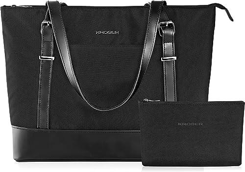 KROSER Laptop Tote Bag 15.6 Inch Large Shoulder Bag Lightweight Water-Repellent Nylon Computer Tote Bag Women Stylish Handbag for Work/Business/School/College/Travel-Black product image