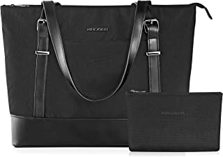 KROSER Laptop Tote bag 15.6 Inch Large Shoulder Bag Lightweight Water-repellent Nylon Computer Tote Bag Women Stylish Handbag for Work/Business/School/College/Travel-Black
