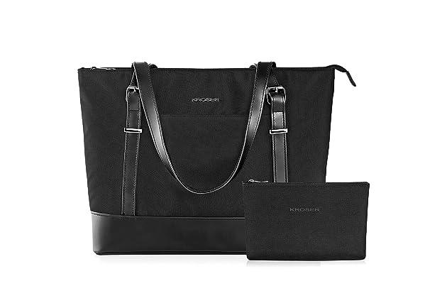 KROSER Laptop Tote bag 15.6 Inch Large Shoulder Bag Lightweight Water-repellent Women Stylish Handbag for Work//Business//School//College//Travel-Grey