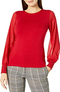 Vince Camuto Women's Long Chiffon SLV Knit Top W/Em