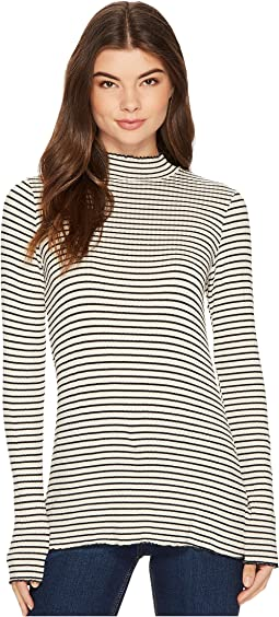 Michael Stars - Striped Rib Mock Neck Long Sleeve Lettuce Edge Top
