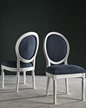 Safavieh Home Collection Holloway French Brasserie Navy Linen & Cream Oval Side Chair (Set of 2), 19