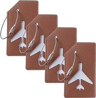 Genuine Leather Luggage Tags Bag Tag Stainless Steel Loop (brown 4 pcs set)