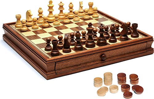 Obtén lo ultimo WE Games French French French Staunton Chess & Checkers Set - Weighted Pieces, marrón & Natural Wooden Board with Storage Drawers - 15 in. by WE Games  alta calidad general
