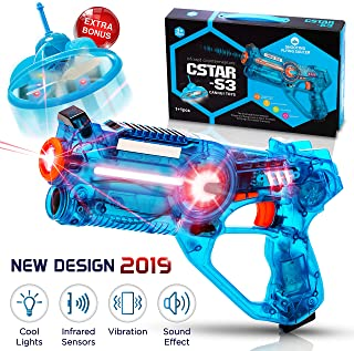 Infrared Laser Tag Set For Kids with Unique Flying Saucer | Fun Laser Battle Game - 4 Color Changes, Sound Effects, Lights and Motion - Gift Box | For Boys and Girls Ages 3 4 5 6 7 8 9 10 + Years Old