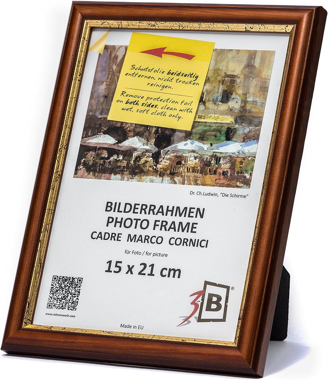 Solide Cornici in Legno per Foto mit Plexiglas 10x15 cm Marrone Scuro 3B Set di Pezzi 3 Cornici Bari Rustico