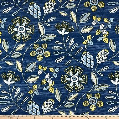 Robert Allen Home Kanga Flower Duck Fabric, Lapis, Fabric By The Yard
