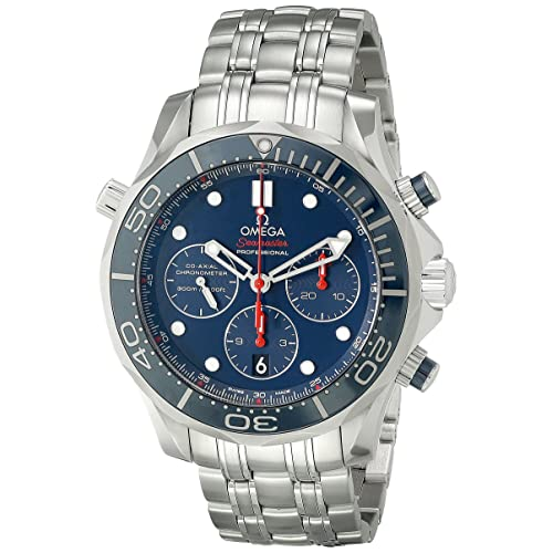 Omega Mens 21230445003001 Diver 300 M Co-Axial Chronograph Sliver Watch