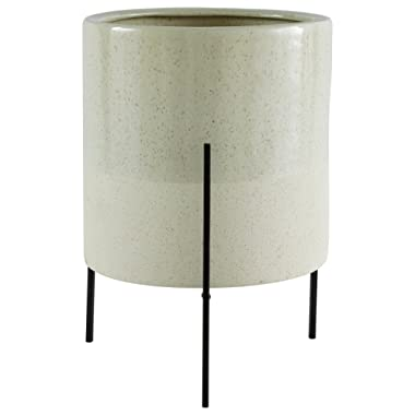 Amazon Brand – Rivet Mid-Century Ceramic Planter with Iron Stand, 17 H, Pale Green