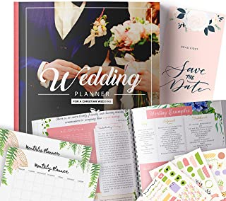 Christian Wedding Planner | Step-By-Step Binder to Organize Your Dream Day Using Stickers, Photos & Pictures | Planning Journal to Organize Your Wedding | Gift for Brides |