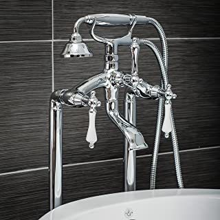 Luxury Clawfoot Tub or Freestanding Tub Filler Faucet, Vintage Design with Telephone Style Hand Shower, Floor Mount Installation, Porcelain Handles, Polished Chrome Finish