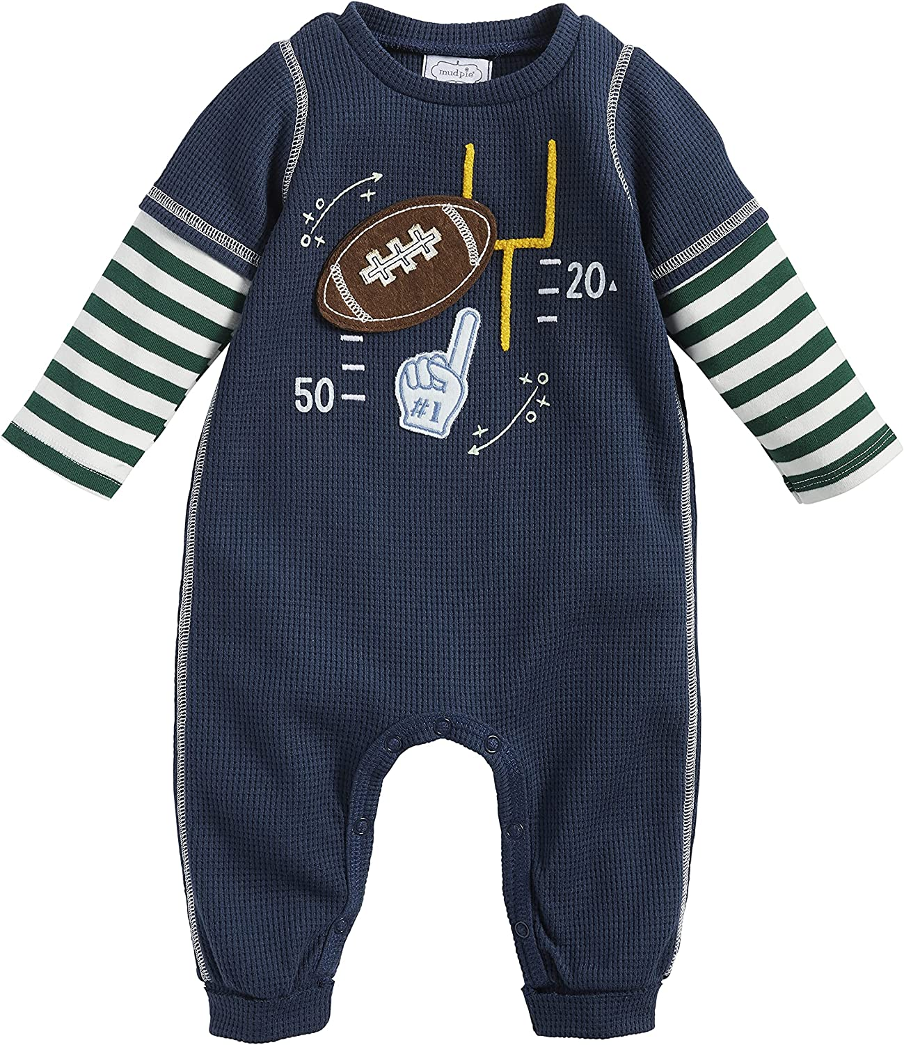 Mud Award Pie Baby Boys' Football Waffle Challenge the lowest price of Japan One Navy Blue Piece Outfit