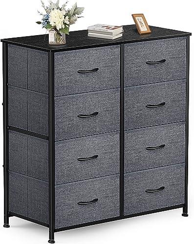 discount Yesker Dresser with 8 Drawers for Bedroom lowest - Storage Tower, Bedside Furniture sale & Night Stand End Table Dresser for Home, Office, College Dorm, Sturdy Steel Frame Organizer, Wood Top (dark Grey) outlet online sale