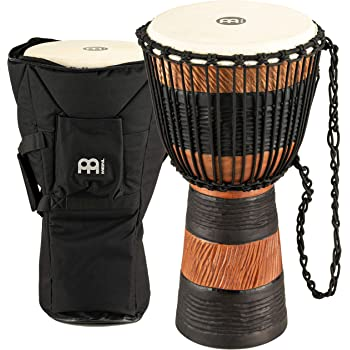 Meinl Percussion Djembe, African Style Finish Mahogany Made in CHINA-10 Medium Size Rope Tuned Goat Skin Head, 2-Year Warranty, Wood/Brown (ADJ3-M+BAG)