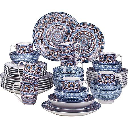 vancasso, Série Mandala, Service de Table Complet en Porcelaine 40 pièces pour 8 Personnes, Assiette Plate, Assiette à Dessert, Bols, Tasse, Assiette Creuse - Style Bohémien