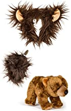 Wildlife Tree Stuffed Plush Grizzly Bear Ears Headband and Tail Set with Baby Plush Toy Brown Bear Bundle for Pretend Play Animals Dressup