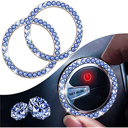 Crystal Rhinestone Car Engine Start Stop Decoration Ring,Dermasy 2PCS Push to Start Button Key Ignition and Knob Bling Crystal Rhinestone Ring Special Bling car Accessories for Women (Blue)