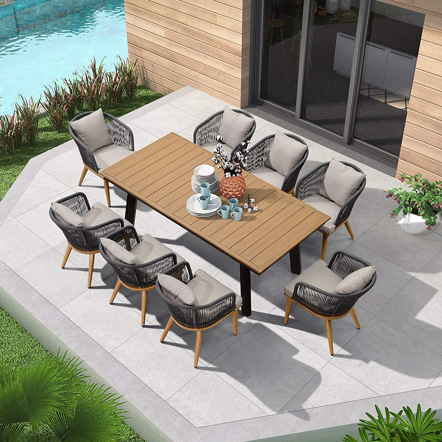 PURPLE LEAF 9 Pieces Patio Dining R Set Furniture Reservation Wicker Outdoor Max 65% OFF