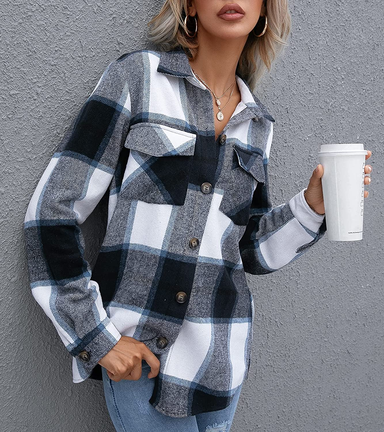 HDLTE Women Button Down Plaid Flannel Blouse Tops Casual Roll Up Long Sleeve Shirt Tops with Pockets