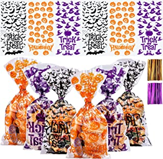 Aneco 150 Pack Halloween Candy Bags Cellophane Snack Bags Halloween Treat Bags Cookie Bags with Twist Ties for Halloween P...