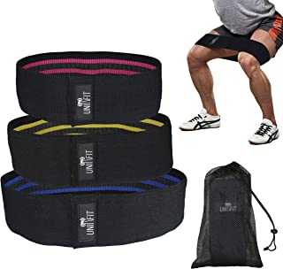 UnitFit Hip Band Booty Training Resistance Workout Hip Excercise Bands Glute Strengthening Exercise for Women and Men - Elastic Non Slip Loop with a Low, Medium, and Heavy Fabric Band - Set of 3