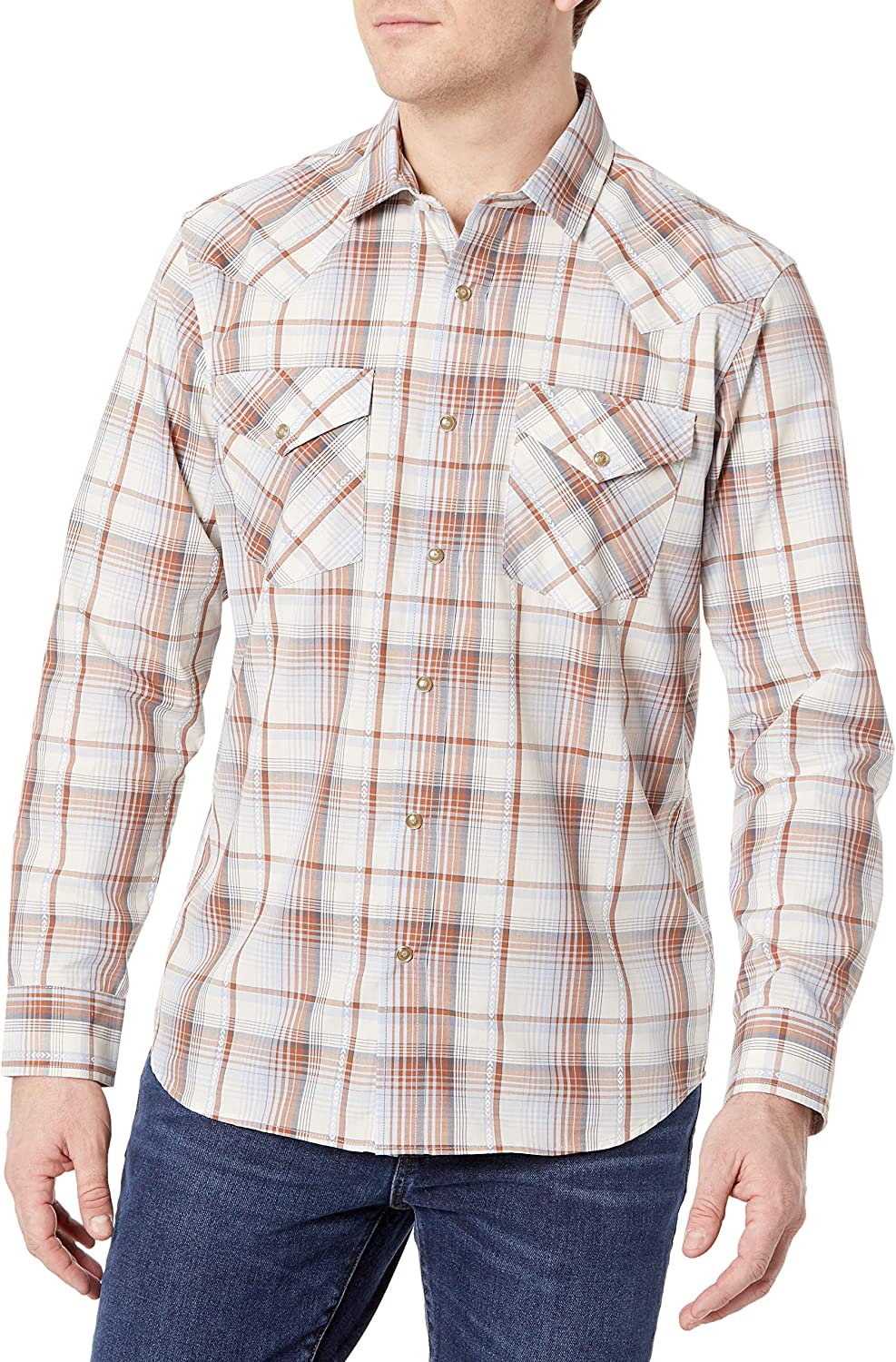 Pendleton Men's Long Sleeve Snap Classic-Fit Shir Frontier Max 86% OFF 5 ☆ very popular Front