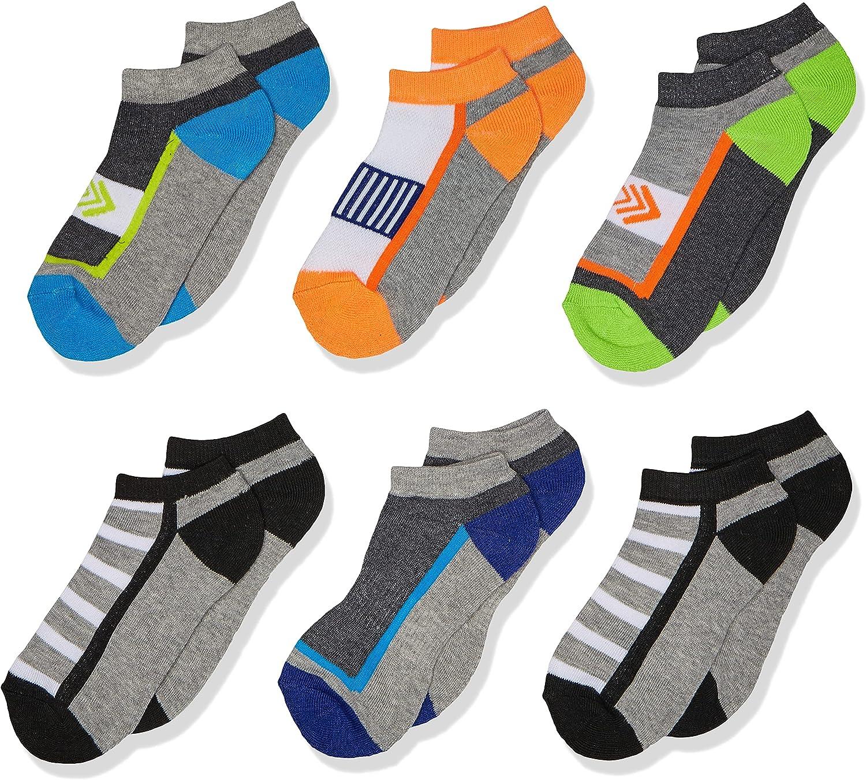 Jefferies Socks Boys' Big Sporty Athletic Low Cut Half Cushion Socks 6 Pair Pack